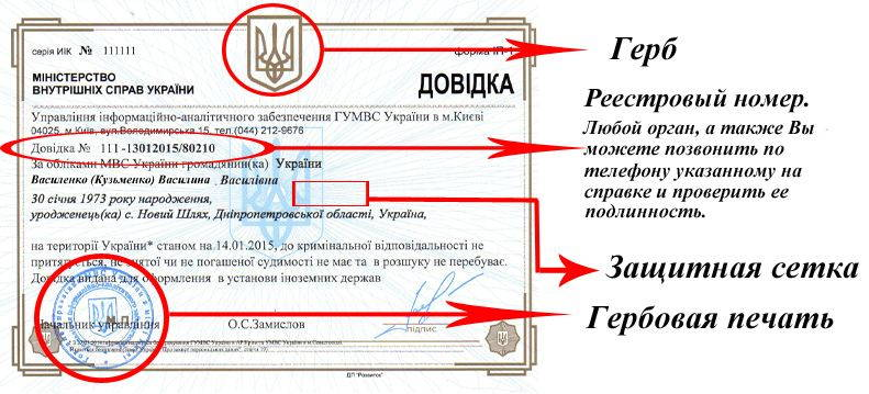 Справка о несудимости об отсутствии судимости Днепропетровск